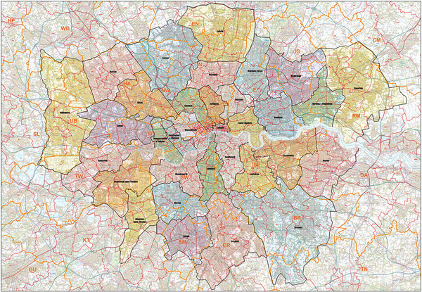 NEW ADDITION: The Greater London Authority Borough Postcode District Map
