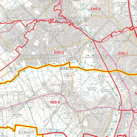 Barnet London Borough Postcode Map