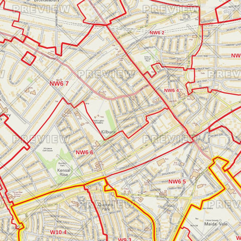 Brent London Borough Postcode Map