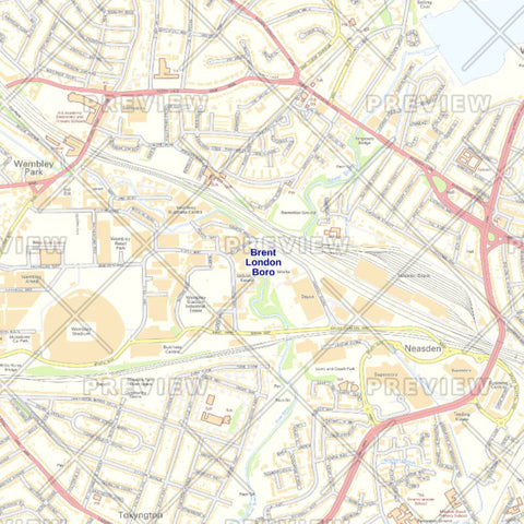 Brent London Borough Street Wall Map