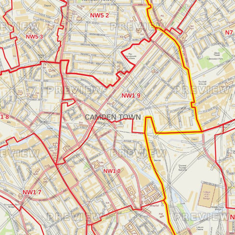 Camden London Borough Postcode Map