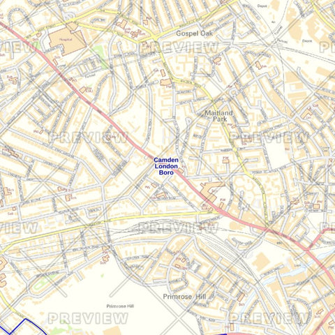 Camden London Borough Street Wall Map
