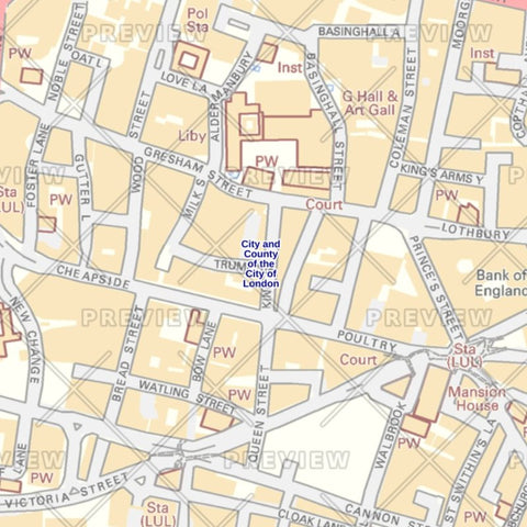 city of london borough street wall map
