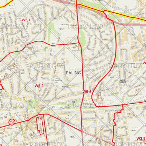 Ealing London Borough Postcode Map