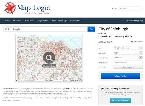 Custom Edinburgh Postcode Map