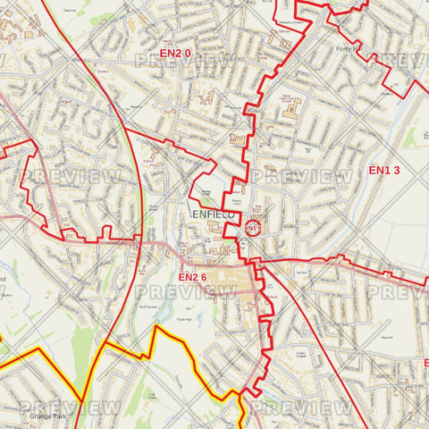 Enfield London Borough Postcode Map