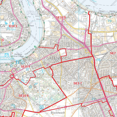 Greenwich London Borough Postcode Map
