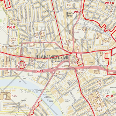 Hammersmith and Fulham London Borough Postcode Map