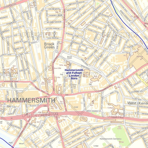 Hammersmith and Fulham London Borough Street Wall Map