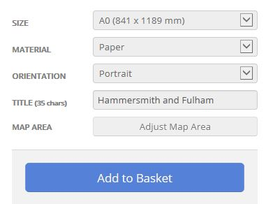 Hammersmith and Fulham London Borough Postcode Map Options