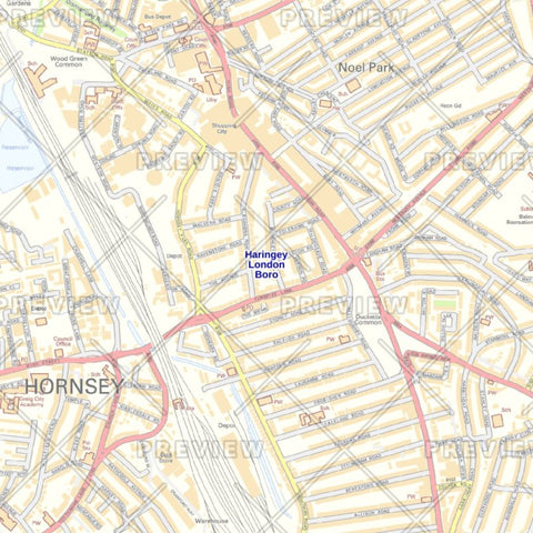 Haringey London Borough Street Wall Map