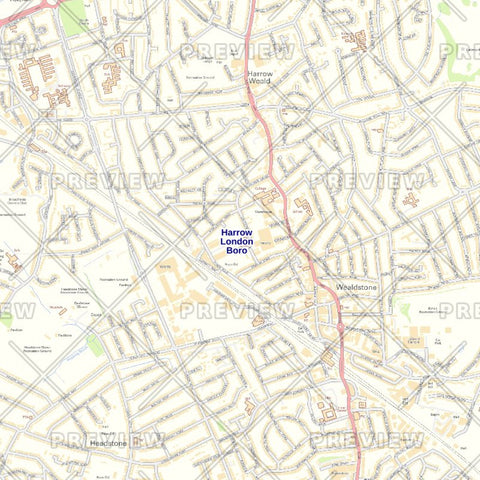 Harrow London Borough Street Wall Map