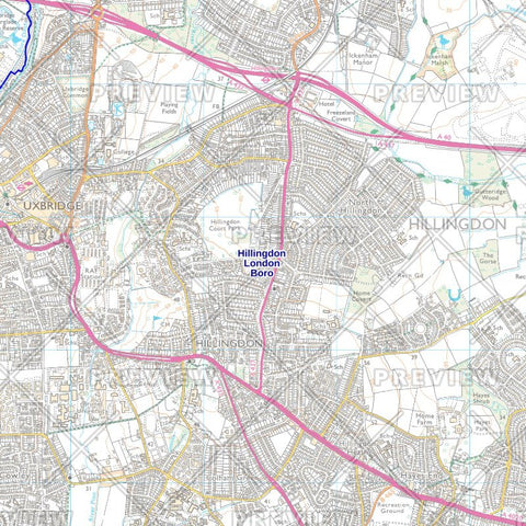 Hillingdon London Borough Street Wall Map