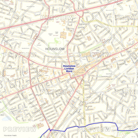 Hounslow London Borough Street Wall Map