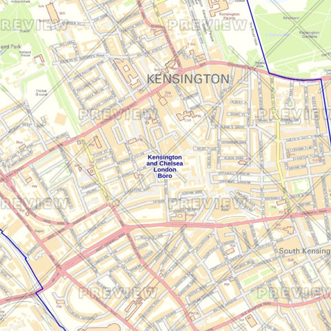 Kensington and Chelsea London Borough Street Wall Map