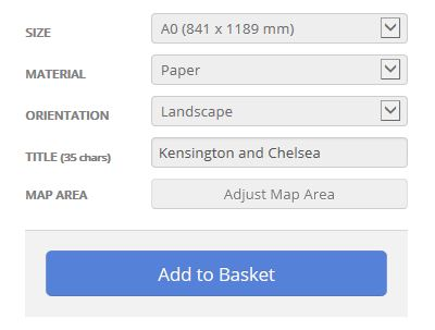 Kensington and Chelsea London Borough Postcode Map Options
