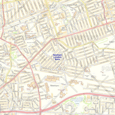 Newham London Borough Street Wall Map