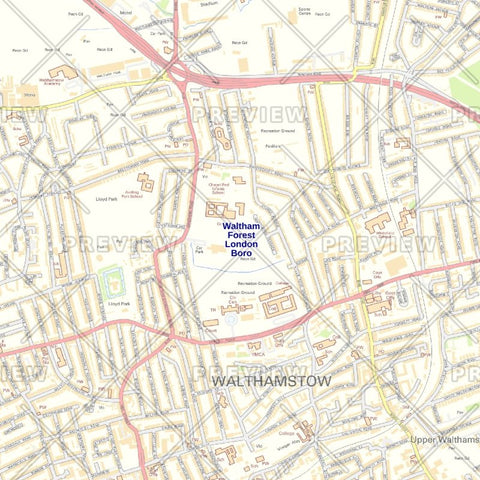 Waltham Forest London Borough Street Wall Map