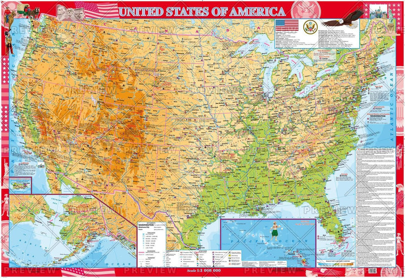USA General geographic Map (English)