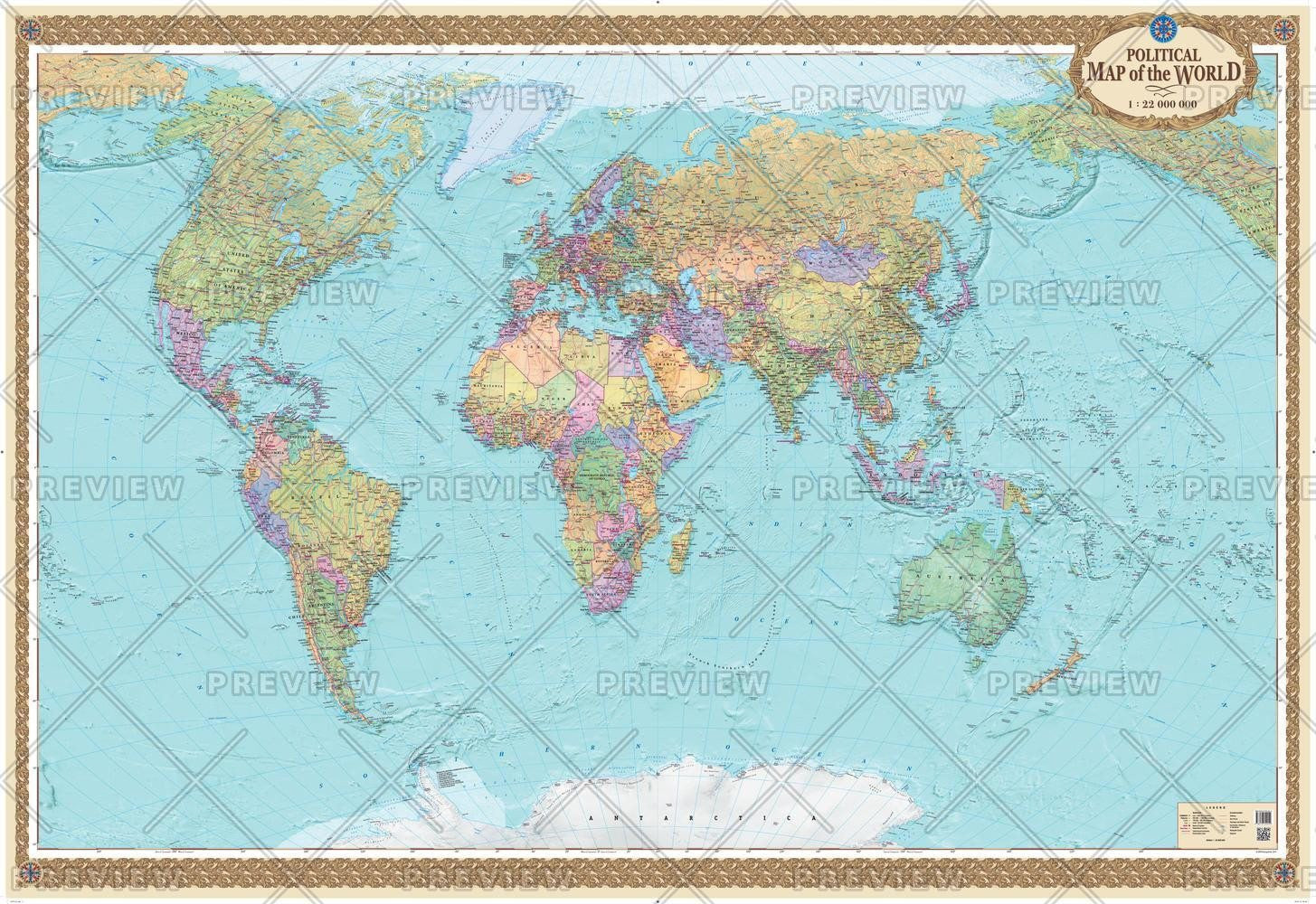 English Map Of The World.Political Map Of The World English