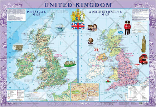 United Kingdom Physical and Political Map (English)