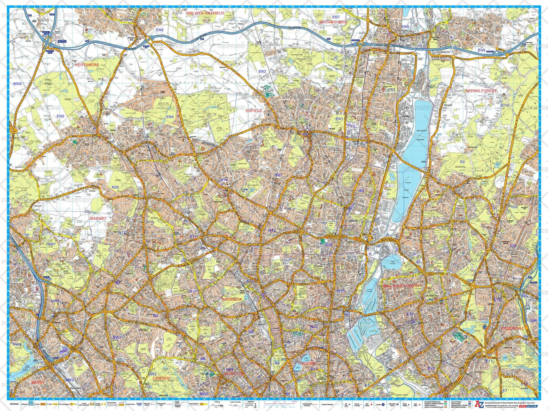 London Postcode Map With Streets.A Z North London Postcode Street Map