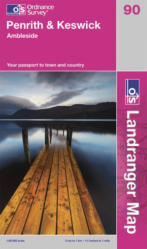 OLR090: Ordnance Survey Landranger Map of Penrith, Keswick & Ambleside Paper Front Cover