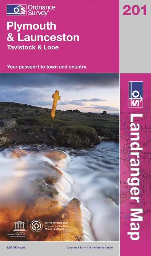 OLR201: Ordnance Survey Landranger Map of Plymouth & Launceston Paper Front Cover
