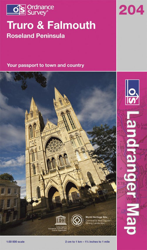 OS Landranger Map of Truro & Falmouth (OLR204) Paper Front Cover