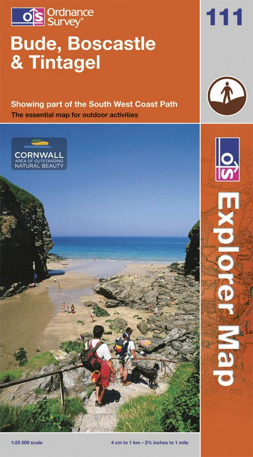 OS Explorer Map of Bude, Boscastle & Tintagel (OL111) Paper Front Cover