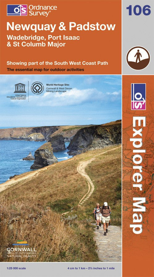 OS Explorer Map of Newquay & Padstow (OL106) Paper Front Cover