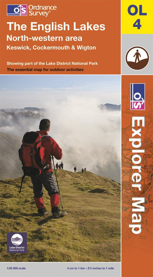 OL04: Ordnance Survey Explorer Map of the English Lake District (North West) Paper Front Cover