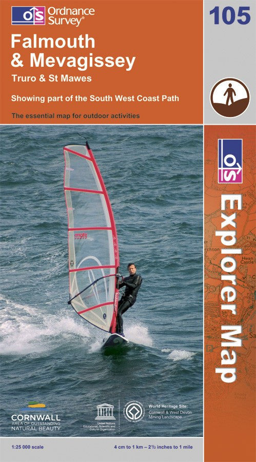 OS Explorer Map of Falmouth & Mevagissey (OL105) Paper Front Cover
