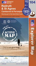 OS Explorer Map of Redruth & St Agnes (OL104) Active Front Cover