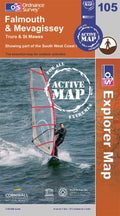 OS Explorer Map of Falmouth & Mevagissey (OL105) Active Front Cover