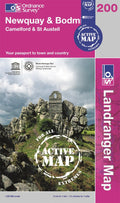 OLR200: Ordnance Survey Landranger Map of Newquay & Bodmin Active Front Cover