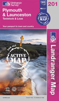 OLR201: Ordnance Survey Landranger Map of Plymouth & Launceston Active Front Cover