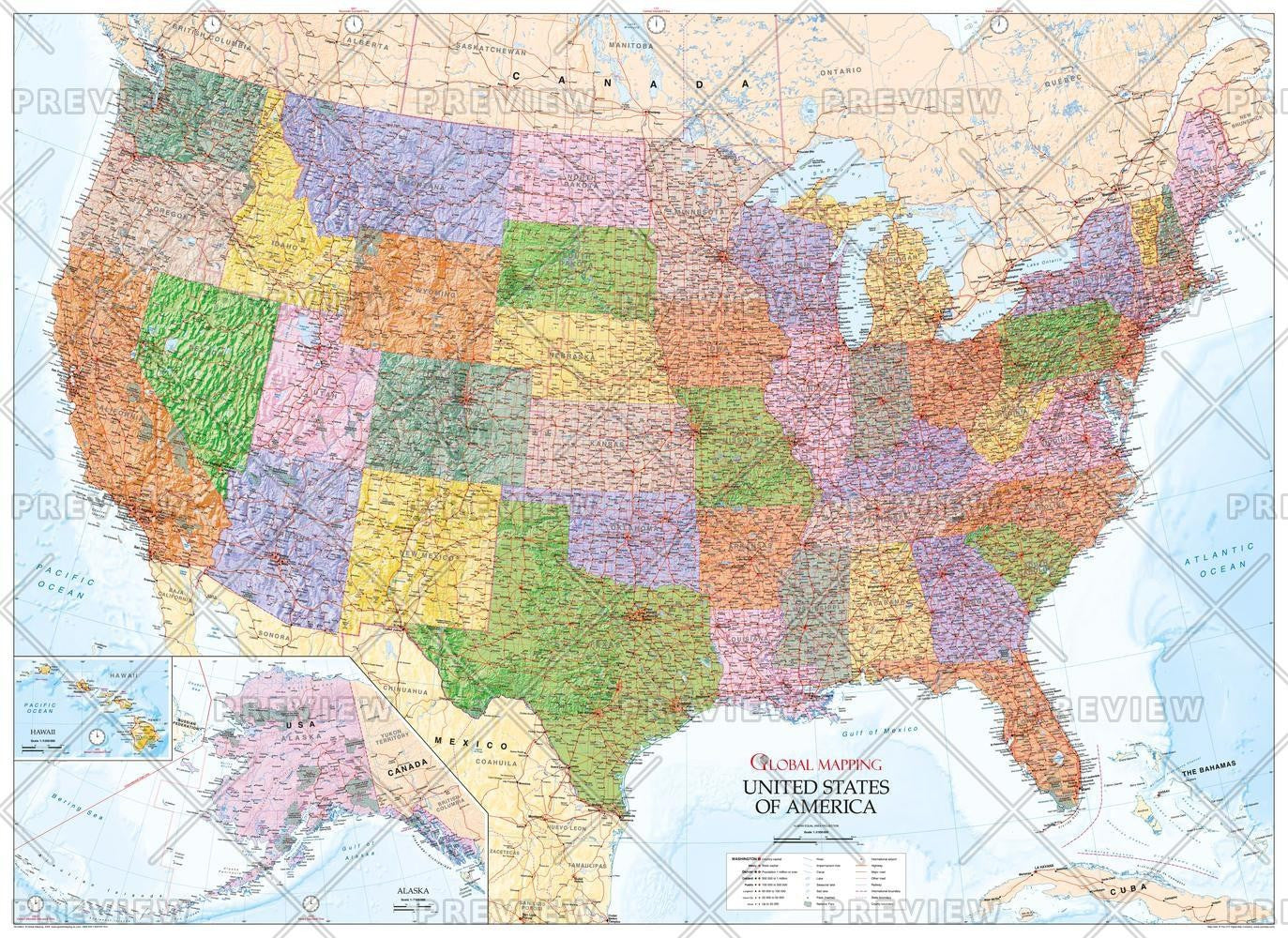 United States of America Wall Map (USA)