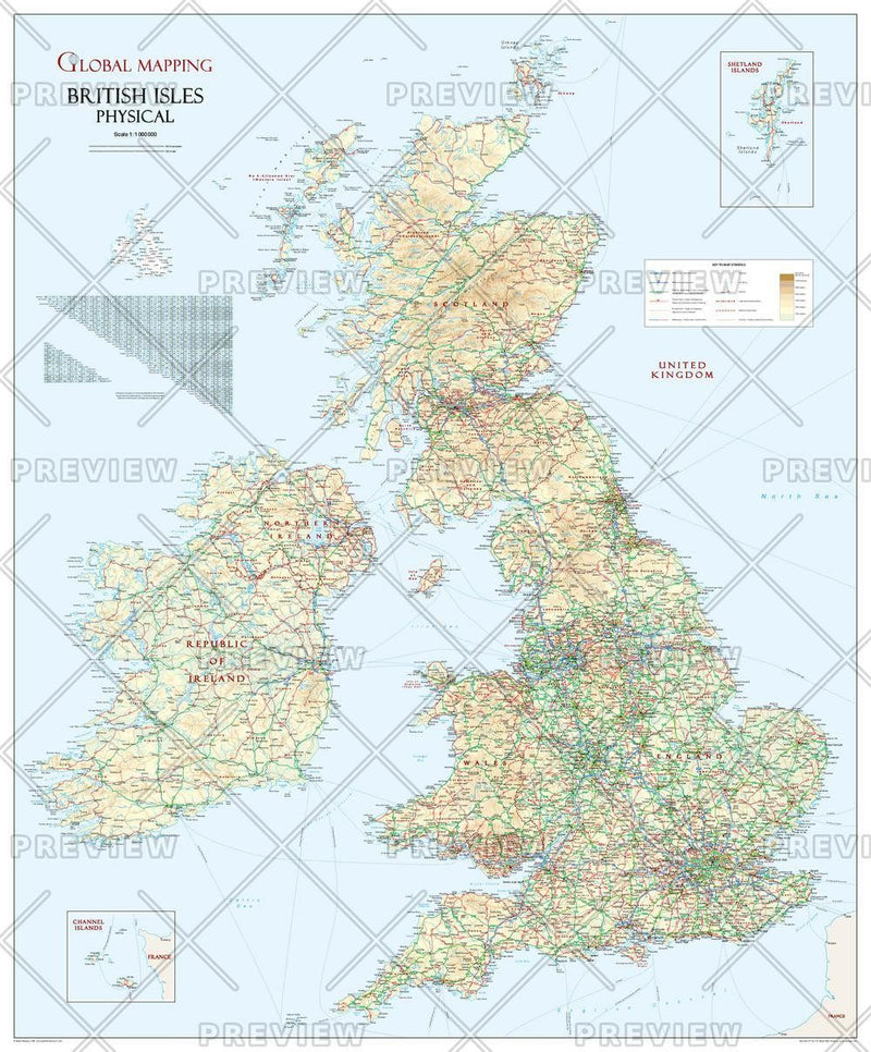 British Isles Physical Wall Map, Large