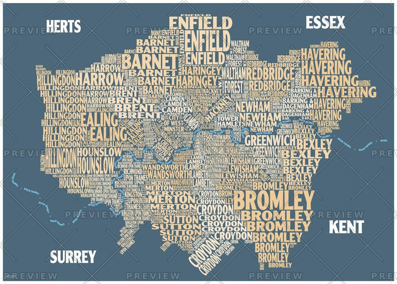 Graphic Map London - boroughs, beige background