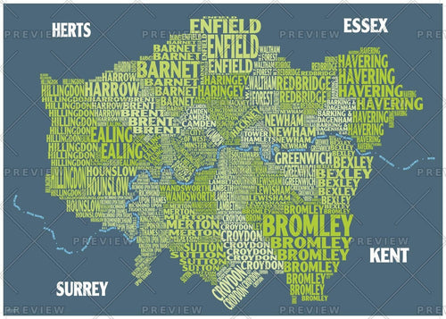 Graphic Map London - boroughs, green background