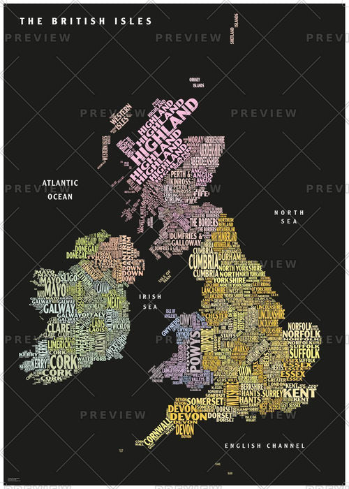 Graphic Map UK - counties, black background