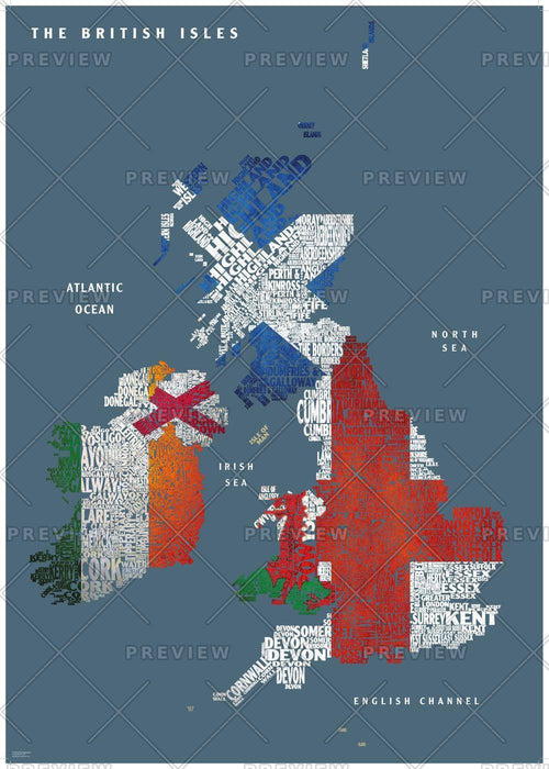 Graphic Map UK - flags