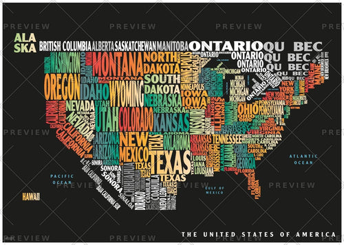 Graphic Map USA - colours, black background