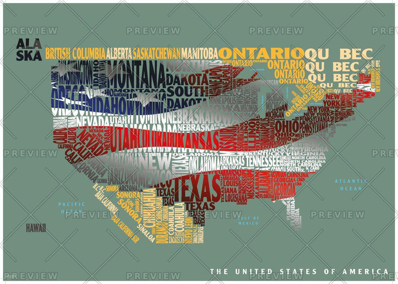 Graphic Map USA - flag