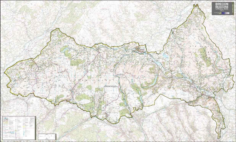 Brecon Beacons National Park Wall Map (151 x 93cm)