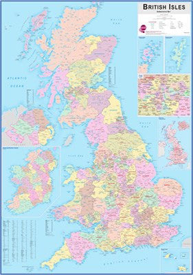 British Isles Administrative Wall Map