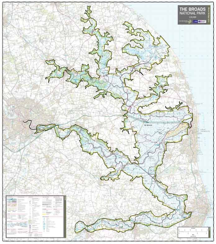 The Broads National Park Wall Map