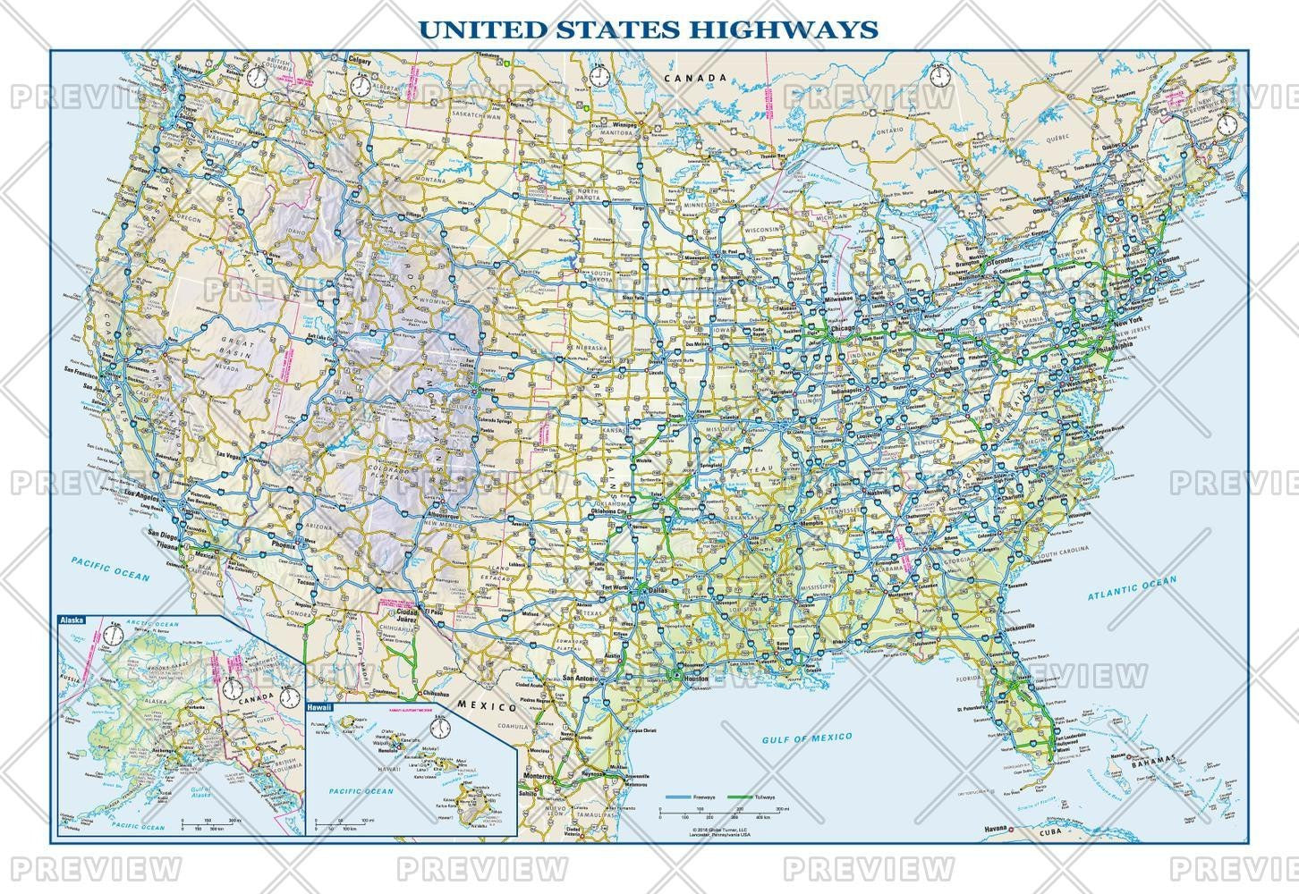 USA Interstate Highways Wall Map – Map Logic