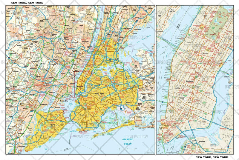 New York, New York Wall Map